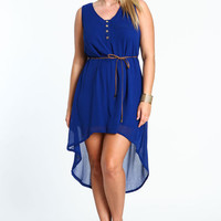 PLUS SIZE SLEEVELESS HIGH LOW DRESS