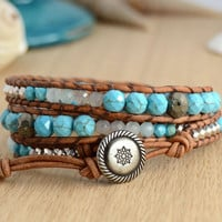 Silver and turquoise sectioned wrap bracelet. Beach chic summer bracelet.