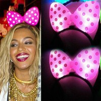 Beyonce Minnie Mouse Light-Up Pink Headband XO Polka Dot LED Flashing Ears