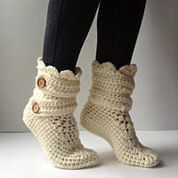 Women's Crochet Cream Slipper Boots, Crochet Slippers, Crochet Booties, Crochet House Shoes, Crochet Winter Boots, Beige Slipper Boots