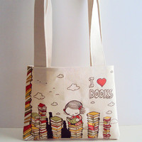 Small I Love Books Cotton Canvas Tote Bag by kukubee on Etsy