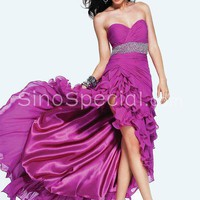 Fashion A-line Sweetheart Neckline Asymmetrial Sequins Chiffon Prom Dress-SinoSpecial.com on we heart it / visual bookmark #28296153
