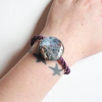 Purple Hemp Bracelet with Ocean Jasper Bead, ready to ship.