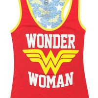 Wonder Woman Logo Front/Back Racerback Tank Top