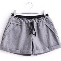 Leisure Elastic Waist Drawstring with Pockets Purfle Short Pants Grey-Wholesale Women Fashion From Icanfashion.com