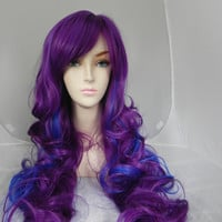 Blueberry Grape / Purple and Blue / Long Curly Layered Wig Mermaid Hair Lolita Natural Scalp Piece