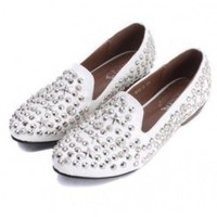 Wholesale European and American style rivets shallow mouth flats SY-C0513 white - Lovely Fashion