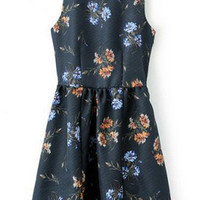 ROMWE Crossed Backless Floral Print Navy-blue Dress