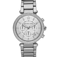 Michael Kors Parker Glitz Watch, Silver Color