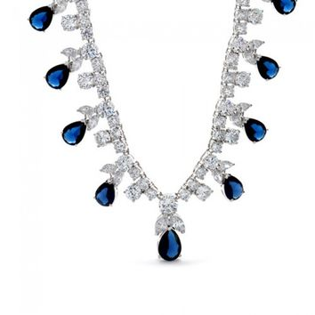 Bling Jewelry Sapphire Color CZ Teardrop Vintage Style Gatsby Inspired Necklace | Bling Jewelry