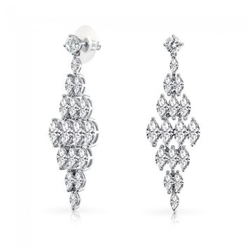 Bling Jewelry Cubic Zirconia Tiered Bridal Chandelier Dangle Earrings | Bling Jewelry