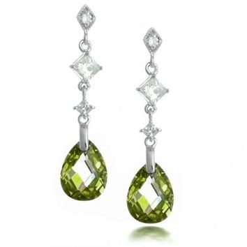 Bling Jewelry Sterling Silver Faceted Olive Green Teardrop CZ Earrings | Bling Jewelry