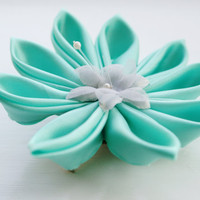 Mint Green Hair Clip Kanzashi Flower Hair by cuttlefishlove