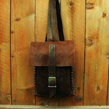 vintage rustic brown saddle leather handmade backpack. rustic, western, hipster leather distressed backpack