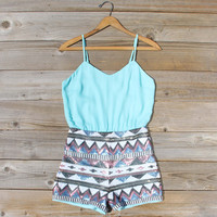 Crystal Wishes Romper in Turquoise