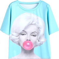 Sheinside Women's Blue Short Sleeve Bubblegum Beauty Print T-Shirt
