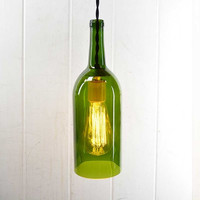 Recycled Wine Bottle Hanging Light, Wine Bottle Lighting, Upcycled Wine Bottle Lamp