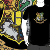 #sc Hogwarts harry potter logo movie black t-shirt