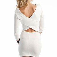 cross back long sleeve dress $27.10 in BLACK IVORY ROYAL - Casual | GoJane.com