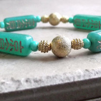 Good Luck Graduation Jewelry, Chinese New Year Bracelet, Mint Green Jade and Etched Gold Beaded Jewelry