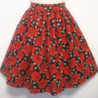 Black and Red Floral Retro Full Skirt / Womens by Eclectasie