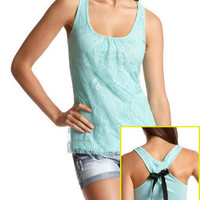 Charlotte Russe - Lace Front Bow Back Tank