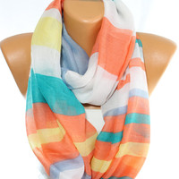 NEW Multicolor Scarf Stripped Scarf Loop Scarf Summer Scarf Spring Lightweight Scarf Gift Ideas For Her Women's Scarves ESCHERPE