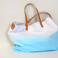 TOTE BAGAquamarine with leather strapextralarge by cocosheaven