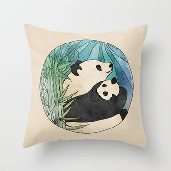 Panda Love Throw Pillow by Perrin Le Feuvre | Society6