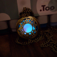 Glow in the Dark ALICE IN WONDERLAND Inspired Bronze Toned Locket Pendant Necklace -- Choose Your Glow Color --Green, Blue, Aqua, White, Red