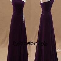 hot dark purple chiffon bridesmaid dresses for wedding modes homecoming gowns with rhinestones sloping shoulder long prom dress for holiday