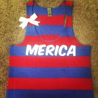Merica -  Striped Tank - Ruffles with Love
