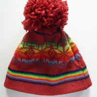 Vintage Snowflake Wool Knit Hat with Pom Pom 1980s