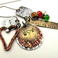 Personalized Mom Necklace Mixed Metal by FiredUpLadiesHammer
