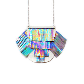 Holographic Fringe Necklace Metallic Bib Necklace, Rainbow Iridescent Tassel Jewelry | Boo and Boo Factory - Handmade Leather Jewelry