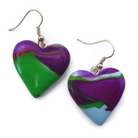 Heart drop earrings Purple and Green Marble by KireinaJewellery