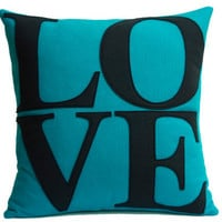 Turquoise and Navy Love Pillow Cover Appliqued by DancingArethusa