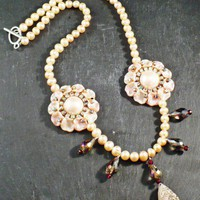 Drusy Quartz Pendant with Vintage Pink Features on Freshwater Pearls | BellaSweet - Jewelry on ArtFire
