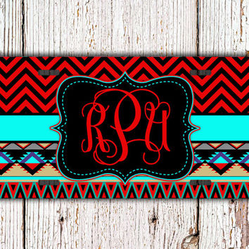 Monogrammed chevron license plate monogram Tribal car tag - Aztec design with bright red, aqua and tans - personalized gift for women (1276)