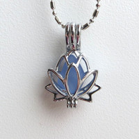 Lavender Cornflower Blue Sea Glass Lotus Flower Locket by Wave of LIfe