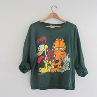 Vintage 1978 - Garfield and Odie novelty sweatshirt // green pullover