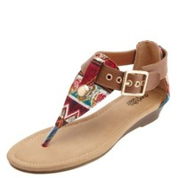 Tribal Print Canvas Thong Sandals