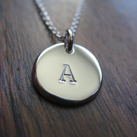 Initial Stamped Letter A Silver Pendant by GorjessJewellery