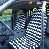 1 Set of Black and White Chevron  Print  Car Seat Covers and the steering wheel cover.