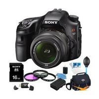 Sony Alpha SLT-A57K 16.1 MP Exmor APS HD CMOS Sensor DSLR with Translucent Mirror Technology, 3D Sweep Panorama and 18-55mm Zoom Lens ULTIMATE Bundle with Sony 16GB High Speed Card, Deluxe Filter Kit, Spare Battery, Padded Case, Card Reader + More