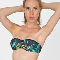 Jungle Leaves Print Nylon Tricot Ruched Front Bikini Tube Top