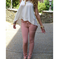 Venice Peach Tailored Skinny Pant