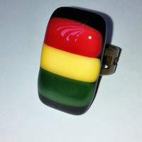 Rasta - Rasta Ring - Rasta Jewelry - Adjustable Ring -  Fused Glass Ring - Alternative Jewelry - Rastafarian - nickel and lead free