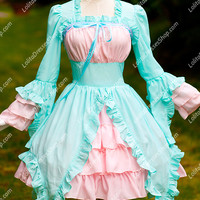 Summer Cool Sky Blue and Pink Chiffon and Cotton Square Neck Long Sleeves Sweet Lolita Dress