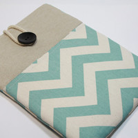 Mac Book Air 13 inch Sleeve Chevron Mac book Pro Case Mac book Foam Padded Handmade Cover- Chevron Teal